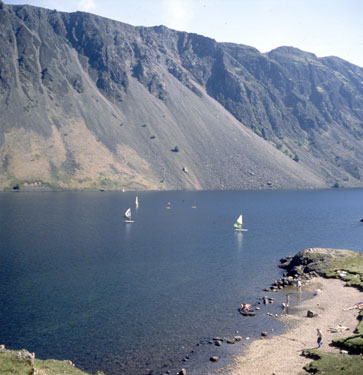 Windsurfers on Wastwater, the screes behind