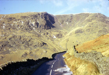 Close to the top of Kirkstone pass taken from the Windermere side on the A592. The fell is Red Screes.