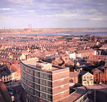 Furness House to Roosecote Power Station from Barrow Town Hall
